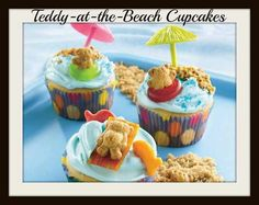 Cute beach themed cupcakes