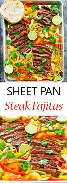 Sheet Pan Steak Fajitas. An easy family dinner ready in under an hour with minimal clean-up!