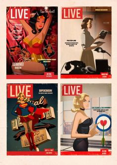 Lois Lane, Wonder Woman, etc as retro mag covers.