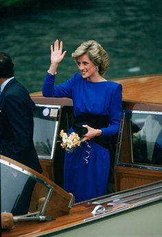 Diana, Princess Of Wales on board a boat in Venice, Italy, 1985.