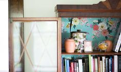 In Vermont, an Unfussy Home Fit for Family, Design*Sponge (love the wallpaper inside the shelves)