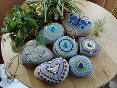 Blue and yellow mosaic rock by workglass on Etsy, $25.00