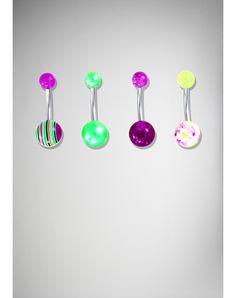 14 Gauge Purple & Green Stripe Banana Belly Button Ring 4-Pack