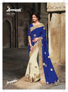 The half-half designer saree is getting inspired to rock. It features the colorful combination of blue and cream.The pallu and patli,both are in georgette fabric with heavy gota jari work border and moti lace. The golden gota jari work patches give a glamorous touch to the drape.