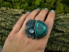 Ring | Tess Jordan ~ NorvaDesigns.  Sterling silver, oxidized sterling, agate druzy cabochon