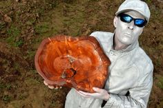 WASH BOWL: Edward Morris, alias Metal Detector Man, with The Wash Bowl, one of his three artwork pieces based on King John's lost treasure which is reputed to have sunk in mud around The Wash 800 years ago.  Photo by Tim Wilson.  SG280217-208TW.