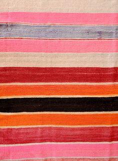 bright weft stripes  Bolivian Frazada Rug in Ojai Stripe