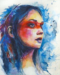 Expressive watercolor portrait. Bold color portrait. Indigenous people painting. Watercolor Artwork, Watercolor Portraits, Watercolor Tattoo, Facing The Sun, Bold Colors, Original Paintings, The Originals, Face, People