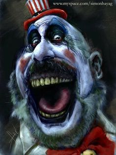 Scary clown with bad teeth