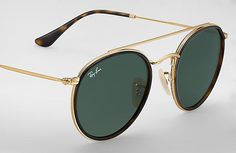 $163 Ray-Ban 0RB3647N-ROUND DOUBLE BRIDGE Gold SUN Rayban Sunglasses Mens, Novelty Sunglasses, Discount Sunglasses, Latest Sunglasses, Round Sunglasses, Clubmaster Sunglasses, Nice Glasses, Toms Shoes Outlet, Fashion Eye Glasses