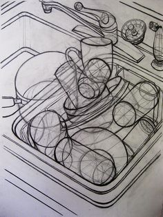 Sink Drawing   Flickr - Photo Sharing!                                                                                                                                                                                 More Sink Drawing, Contour Drawing, Object Drawing, Figure Drawing, Drawing Lessons, Drawing Techniques, Art Lessons, Art Sketches, Art Drawings