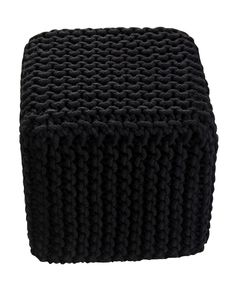 Black Knitted Cotton Cube Footstool 35 x 35 x 35 cm - Homescapes Vibrant Colors, Colours, Black Knit, Hand Knitting, Home Accessories, Cube, Classic, Cotton, Collection