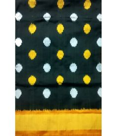 Black Handloom Pure Ikkat Silk Saree