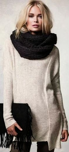 Gorgeous Long White Sweater, Amazing Black Scarf and Handbag