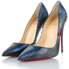 CHRISTIAN LOUBOUTIN Watersnake So Kate 120 Pumps 38 Blue ❤ liked on Polyvore featuring shoes, pumps, heels stilettos, snake pumps, blue pointed toe pumps, pointy toe stiletto pumps and blue shoes