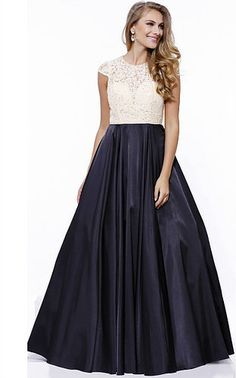 Elegant Prom Dress,Blue Prom Dresses,Cap Sleeve Evening Dress,Long ...