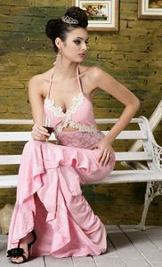 Pink Halter Lace Trim Long Evening Dress Really Nice ~ $62.41