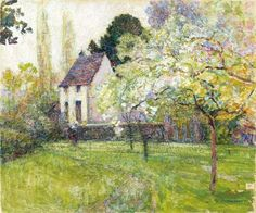 Paintings of Spring: Victor Charreton - Spring at the Artist's House