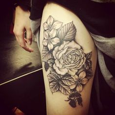 Black ink Roses and Flowers Tattoo