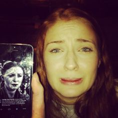 """Sansa using a piece of modern technology called the iPhone while mimicking herself: 