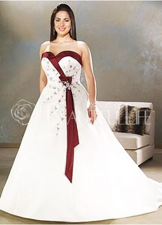 $276.99Satin Sweetheart Cathedral Train #Empire #Plus Size Bridal Gown With Beading