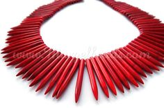 1 Strand Red Howlite Needles x by Margelbeads Handmade Jewelry, Unique Jewelry, Handmade Gifts, Beads, Trending Outfits, Etsy, Vintage, Kid Craft Gifts, Beading