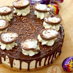 NoBake Creme Egg Cheesecake!  Delicious Vanilla Cheesecake Buttery Biscuithellip