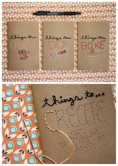 diychristmascrafts: DIY Easy Embroidered Journal Tutorial from Mollie Makes.