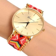 Handmade Braided Casual Women Friendship Bracelet Watch Round Dial Quartz Wrist Watch