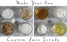 Exfoliating your face one to two times a week is an easy way to achieve soft, glowing skin. And you can whip up a great exfoliating facial scrub right Face Scrub Homemade, Homemade Skin Care, Homemade Beauty, Homemade Facials, Homemade Products, Homemade Soaps, Exfoliate Face, Diy Scrub, Facial Scrubs