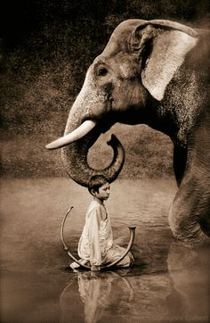 Gregory Colbert / art photography / boy and elephant / harmony Theo Theo, Elephant Love, Elephant Walk, Asian Elephant, Gentle Giant, Belle Photo, Black And White Photography, Beautiful Creatures, Animal Kingdom