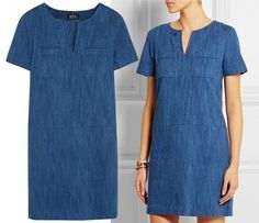 Trendy Dresses, Simple Dresses, Casual Dresses, Short Sleeve Dresses, Dresses With Sleeves, Denim Fashion, Look Fashion, Chambray Outfit, Dress Outfits