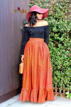 African clothing :MELISSA african print maxi by Nasbstitches African Print Skirt, African Print Dresses, African Dress, African Attire, African Wear, African Women, African Fashion Skirts, African Print Fashion, Modest Fashion