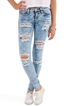 Torn jeans. So 80s.