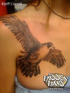Black Ink Flying Hawk Tattoo On Girl Right Front Shoulder tattoo tattoo tattoo design tattoo tattoo tattoo bird tattoo Love Tattoos, Body Art Tattoos, New Tattoos, Girl Tattoos, Tattoos For Guys, Hawk Tattoo, I Tattoo, Tattoo Eagle, Seattle Tattoo Shops