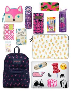 A fashion look from August 2015 featuring Casetify tech accessories, The Small Print. tech accessories and make up purse. Browse and shop related looks. Back To School Supplies List, Going Back To School, Girl Life Hacks, Girls Life, School Backpack Organization, Middle School Lockers, Korean Shoes, Stationary Organization, School Suplies