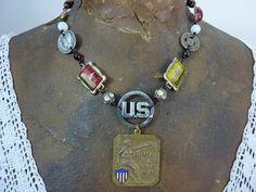 PATRIOTIC AMERICAN FLAG medal  vintage  assemblage by PennysCastle, $132.00
