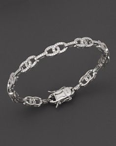 Diamond Pavé Link Bracelet in 14K White Gold, 1.35 ct. t.w.