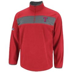 MLB Mens Texas Rangers Checked Swing Athletic Red/Storm Gray Long Sleeve 1/4 Zip Micr Chlr Fleece Po By Majestic (Athletic Red/Storm Gray, Large) - Official MLB T-Shirts and Hoodies at 5Star-Sports.net