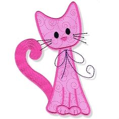 Swirly Kitty 7 Applique - 3 Sizes! | Tags | Machine Embroidery Designs | SWAKembroidery.com Abigail Michelle