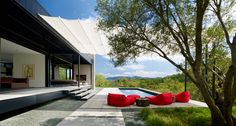 The Long Valley Ranch two-bedroom, two-bathroom vacation home, designed by Marmol Radziner Prefab, is composed of 10 modules joined together to give the homeowners 2,203 square feet of living space.