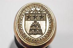 Unusual 19thc original ebony handle champfered edge brass matrix  wax desk seal