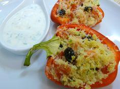 LOS SECRETOS DEL CHEF.- Pimientos rellenos de Couscous con verduras asadas y ensalada de rúcula
