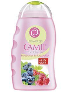 Gel de duș cu afine și zmeură Camil 250ml  cod - cami237  Revigorează-te cu gelul de duş cremos cu antioxidanţi din afine şi zmeură! Parfumul plăcut îţi răsfaţă simţurile, în timp ce eşti învăluită de spuma sa delicată. Pentru utilizare zilnică  200ml+50ml Gratis Spa, Shower Gel, Cleaning Supplies, Blueberry, Raspberry, Shampoo, Drinks, Bottle, Lady