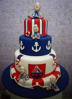 tortas para baby shower de marinero2 Nautical Cake, Nautical Party, Adult Birthday Cakes, Baby Birthday, Pretty Cakes, Beautiful Cakes, Rodjendanske Torte, Torta Baby Shower, Carousel Cake