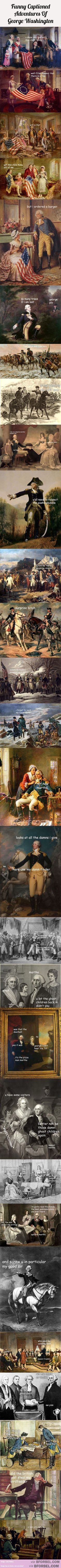 28 Funny Captions Of The Adventures Of George Washington… asscravat....