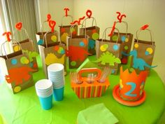 Favor bags dinosaur toddler party | AJ's 2nd birthday | Pinterest ...