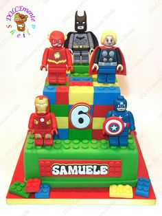 Lego - Cake by Sheila Laura Gallo Lego Marvel, Lego Avengers, Avengers Birthday, Batman Birthday, Boy Birthday, Lego Superhero Cake, Lego Batman Cakes, Lego Cake, Lego Ninjago