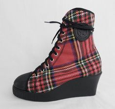 Vintage JUNIOR GAULTIER PUNK Tartan Plaid Ankle Wedges Club Kid Fashion Funky Holiday Ankle Boots. Sz 7