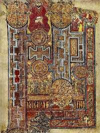 The Book of Kells (Circa 800)    The decorated commencement of St. John's Gospel.     The Book of Kells, sometimes known as the Book of Columba, contains a richly decorated copy of the Four Gospels in a Latin text based on the Vulgate edition (completed by St Jerome in 384 CE).